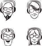 Disegno di lavagna - l'insieme del DJ dirige godere della musica illustrazione vettoriale