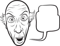 Disegno di lavagna - uomo senior sorpreso Fotografia Stock Libera da Diritti