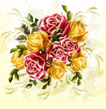 Disegno di lerciume con il mazzo delle rose nello stile dell'annata Fotografie Stock