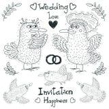 Disegno di nozze, uccelli adorabili divertenti, vettore Fotografie Stock