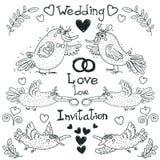 Disegno di nozze, uccelli divertenti, vettore Fotografie Stock