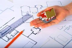 Disegno di nuova casa. Fotografia Stock Libera da Diritti