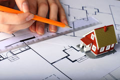 Disegno di nuova casa. Fotografia Stock