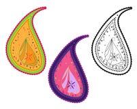 Disegno di Paisley Dettaglio di arte di piega tradizionale L'India Immagini Stock