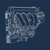 Disegno di profilo dell'illustrazione del motore della macchina royalty illustrazione gratis