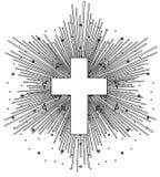 Disegno di profilo dell'incrocio cattolico con i raggi del sole nello stile d'annata Progettazione della carne del tatuaggio, log illustrazione di stock
