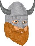 Disegno di punto di vista di Viking Warrior Head Three Quarter Immagine Stock