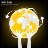 Disegno di rete moderno dei collegamenti del globo Immagine Stock Libera da Diritti
