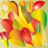Disegno di rosso, di giallo e le foglie verdi illustrazione di stock