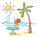 Disegno di scarabocchio con la scena della spiaggia Fotografie Stock Libere da Diritti