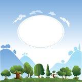 Disegno di scheda con gli alberi e le colline Fotografia Stock