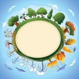 Disegno di scheda con quattro stagioni ed alberi. Fotografie Stock