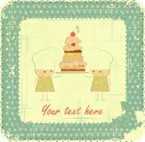 Disegno di scheda del menu dell'annata con il cuoco unico, scheda di compleanno Immagine Stock Libera da Diritti