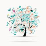 Disegno di scheda del regalo con l'albero floreale Fotografia Stock Libera da Diritti