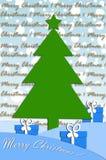 Disegno di scheda festivo con l'albero di Natale Immagini Stock Libere da Diritti
