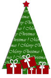 Disegno di scheda festivo con l'albero di Natale ed i regali Immagini Stock Libere da Diritti