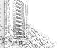 Disegno di schizzo architettonico del fondo illustrazione di stock