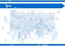 Disegno di schizzo blu dell'inchiostro di colore della Spagna con il toro e matador royalty illustrazione gratis