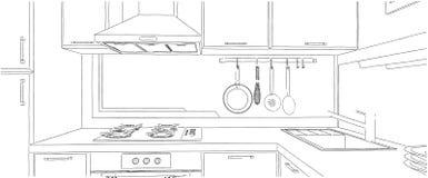 Disegno di schizzo d'angolo contemporaneo della cucina Fotografia Stock