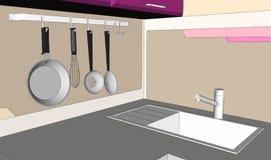disegno di schizzo 3D dell'angolo porpora e marrone della cucina con lo scaffale del vaso della parete e del lavandino Fotografia Stock Libera da Diritti
