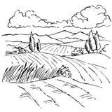 Disegno di schizzo dell'inchiostro del paesaggio Fotografie Stock Libere da Diritti