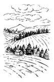Disegno di schizzo dell'inchiostro del paesaggio Paesaggio inciso rurale Immagine Stock Libera da Diritti