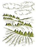 Disegno di schizzo dell'inchiostro del paesaggio Paesaggio inciso rurale Fotografie Stock Libere da Diritti