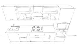 Disegno di schizzo dell'interno moderno della cucina 3d con il cappuccio rotondo Fotografia Stock