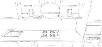 Disegno di schizzo dell'interno moderno della cucina 3d con il cappuccio rotondo Immagini Stock Libere da Diritti