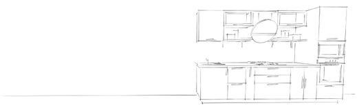 Disegno di schizzo dell'interno moderno della cucina 3d con il cappuccio rotondo su fondo lungo bianco Fotografia Stock