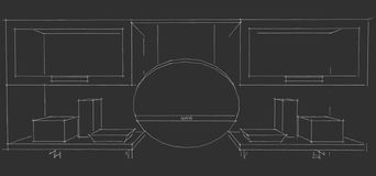 Disegno di schizzo dell'interno moderno della cucina 3d con le porte rotonde di vetro e del cappuccio degli armadietti su fondo n Immagini Stock