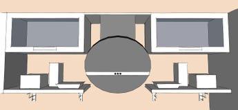Disegno di schizzo dell'interno moderno grigio della cucina 3d con le porte rotonde di vetro e del cappuccio degli armadietti Fotografie Stock
