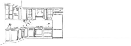 Disegno di schizzo della cucina classica 3d interno Fotografie Stock Libere da Diritti