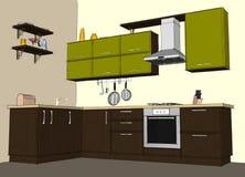 Disegno di schizzo interno della cucina d'angolo moderna Fotografie Stock Libere da Diritti