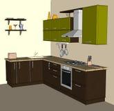 Disegno di schizzo interno della cucina d'angolo moderna verde e marrone Fotografia Stock Libera da Diritti