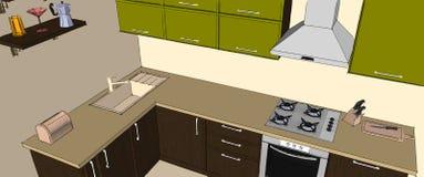 Disegno di schizzo interno della cucina d'angolo moderna verde e marrone Fotografia Stock