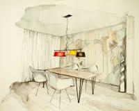 Disegno di schizzo a mano libera dell'inchiostro e dell'acquerello della sala da pranzo piana dell'appartamento, simbolizzante ap Fotografie Stock