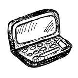 Disegno di schizzo nero del taccuino Immagini Stock