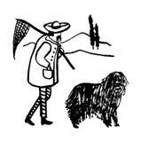 Disegno di un'immagine comica del fumetto divertente in pieno di un uomo anziano un pescatore italiano con i baffi con il suo can Immagine Stock