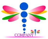 Disegno di un logo della società della libellula illustrazione di stock