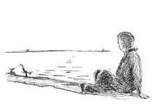 Disegno di un uomo sulla spiaggia Immagine Stock