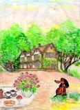 Disegno di una casa e del prato inglese davanti alla casa Fotografie Stock Libere da Diritti