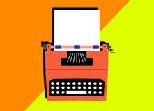 Disegno di vecchia macchina da scrivere con il foglio bianco Immagini Stock