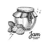 Disegno di vetro di vettore del barattolo dell'inceppamento di fragola Gelatina di frutta e marmal Fotografia Stock
