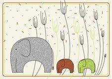 Disegno di vettore con gli elefanti Fotografia Stock Libera da Diritti