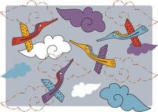 Disegno di vettore con gli uccelli Fotografie Stock Libere da Diritti