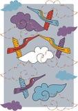 Disegno di vettore con gli uccelli Immagini Stock