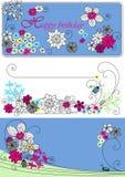 Disegno di vettore con i fiori Immagini Stock