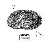 Disegno di vettore della carne tritata Carne tritata disegnata a mano, carne di maiale, ripieno del pollo Fotografie Stock Libere da Diritti