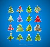 Disegno di vettore delle icone dell'albero di Natale Fotografia Stock
